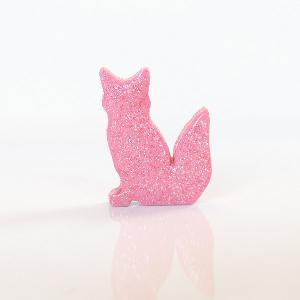 Pastel Pink Fox Figurine with Prett..