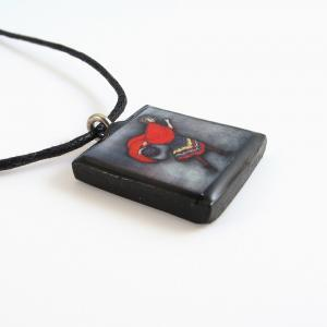 Red Riding Hood Clay Tile Pendant a..