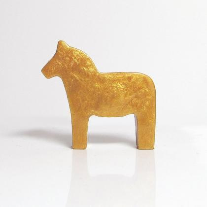 Antique Gold Dala Horse Figurine