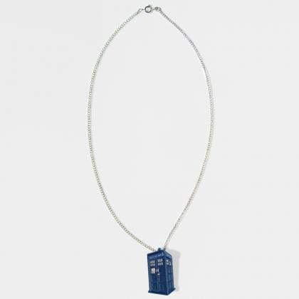 Doctor Who Tardis Pendant with Silv..