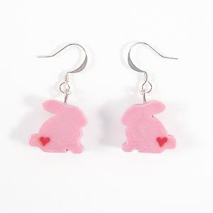 Clay Sculpted Pink Bunny Earrings w..