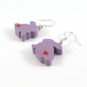 Clay Sculpted Purple Bunny Earrings..