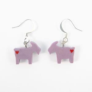 Clay Sculpted Purple Goat Earrings..