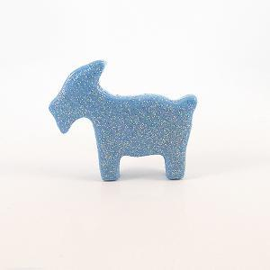 Clay Blue Goat Figurine with Pastel..