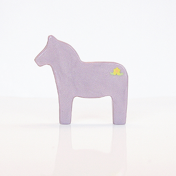 Lilac Dala Horse Figurine with Yellow Flowers