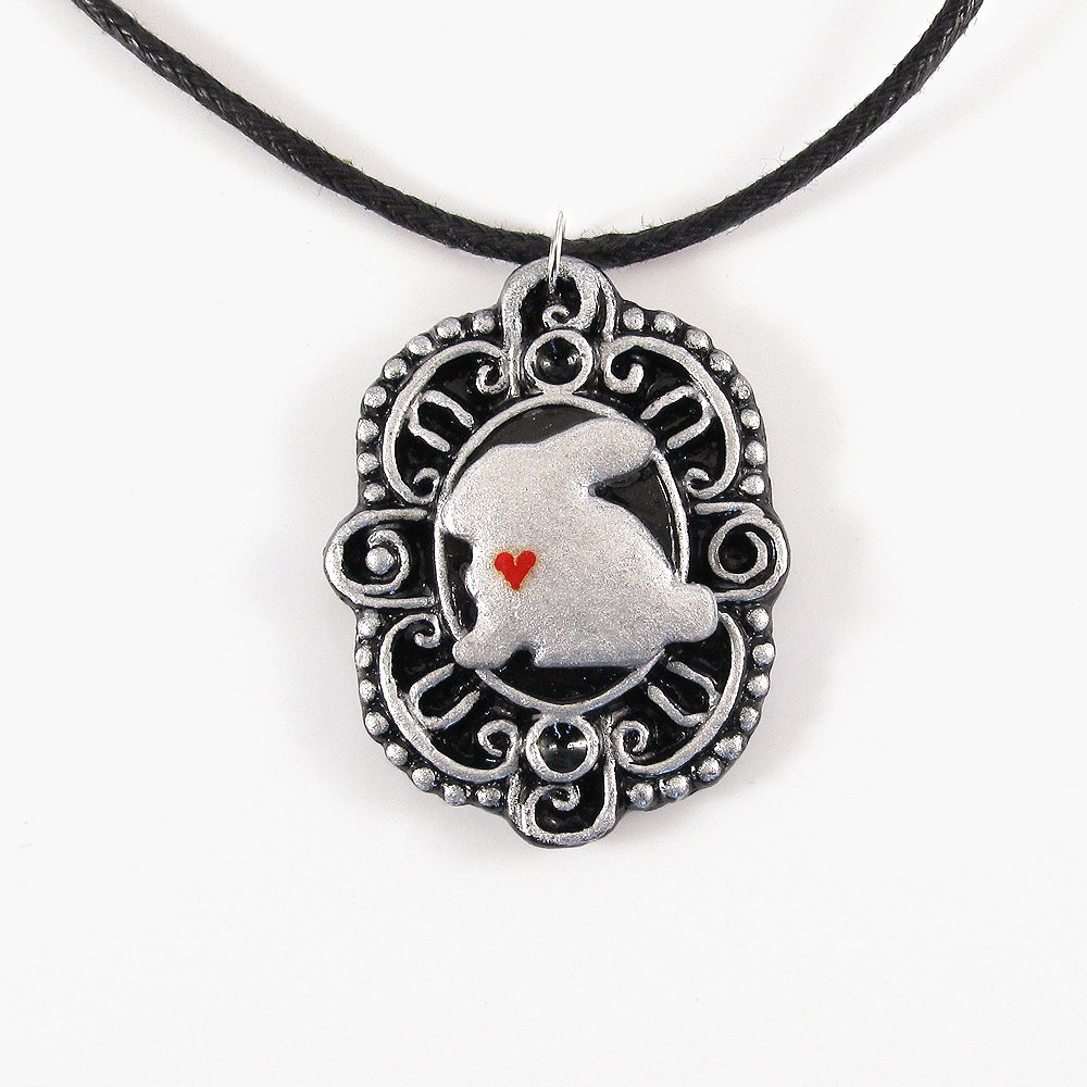 Silver Bunny Cameo Pendant and Black Cord Necklace
