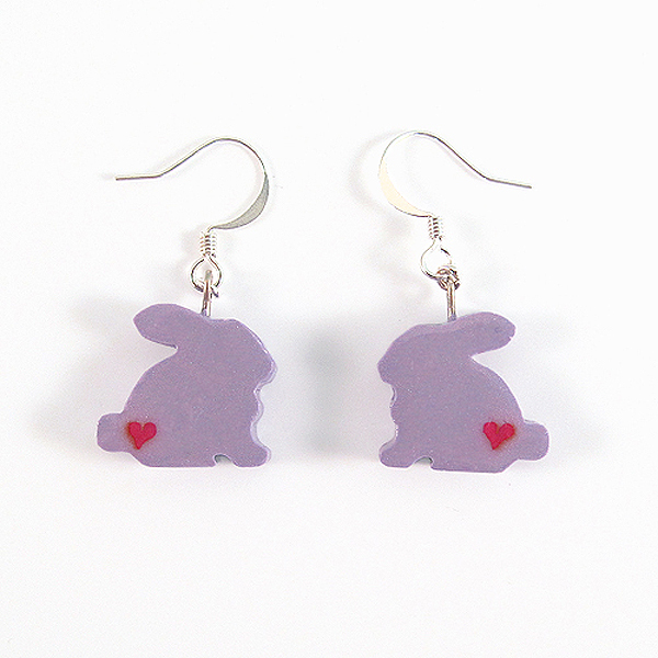 Clay Sculpted Purple Bunny Earrings with Hearts