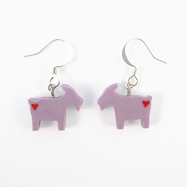 Clay Sculpted Purple Goat Earrings with Hearts
