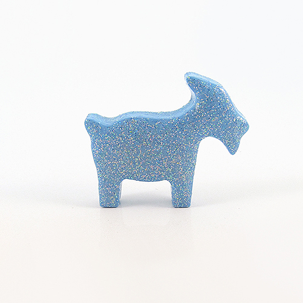 Clay Blue Goat Figurine with Pastel Glitter