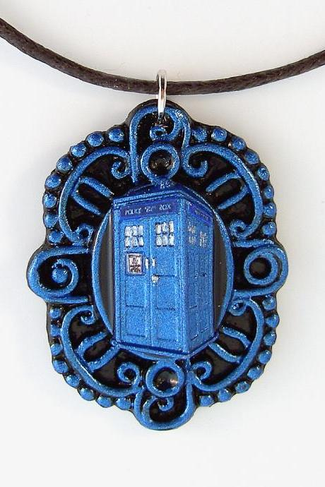 Doctor Who Metallic BlueTardis Victorian Cameo Pendant and Necklace