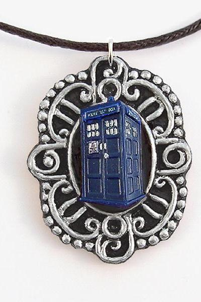 Doctor Who Tardis Victorian Cameo Pendant and Necklace
