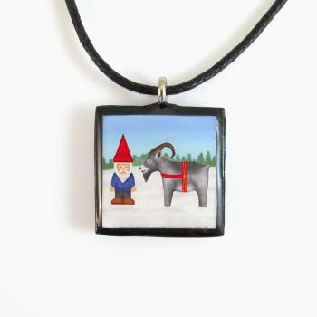 Tomten and Yule Goat Swedish Clay Tile Pendant and Necklace