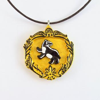 Harry Potter Yellow and Black Hufflepuff House Crest Pendant and Necklace