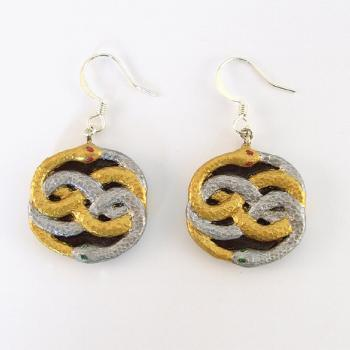 Auryn Earrings - Silver and Gold Snakes
