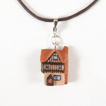 Tiny German Half-Timbered House Pendant and Cord Necklace