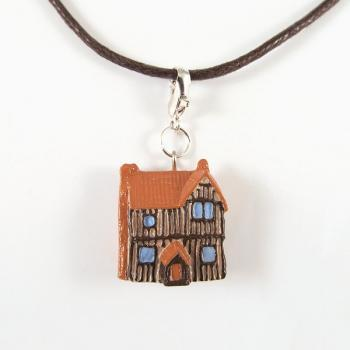 Tiny European Timber House Pendant and Cord Necklace