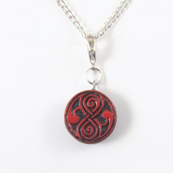 Red and Dark Grey Seal of Rassilon Necklace from Doctor Who