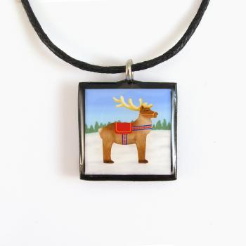 Lapland Reindeer Clay Tile Pendant and Necklace