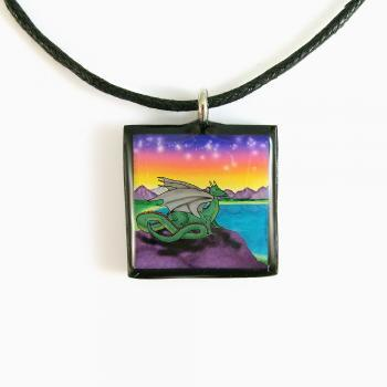 Green Dragon in a Fairy Tale Fantasy Land Clay Tile Pendant and Necklace