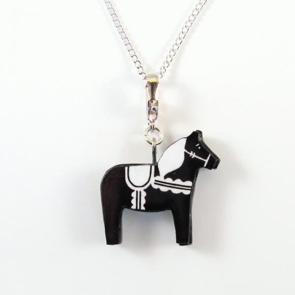 Black and White Dala Horse Pendant and Necklace
