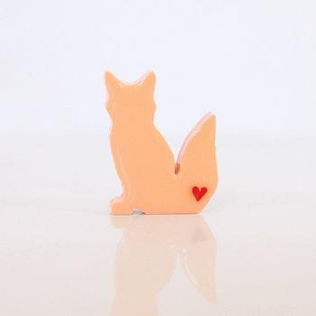 Light Orange Fox Figurine with Red Hearts