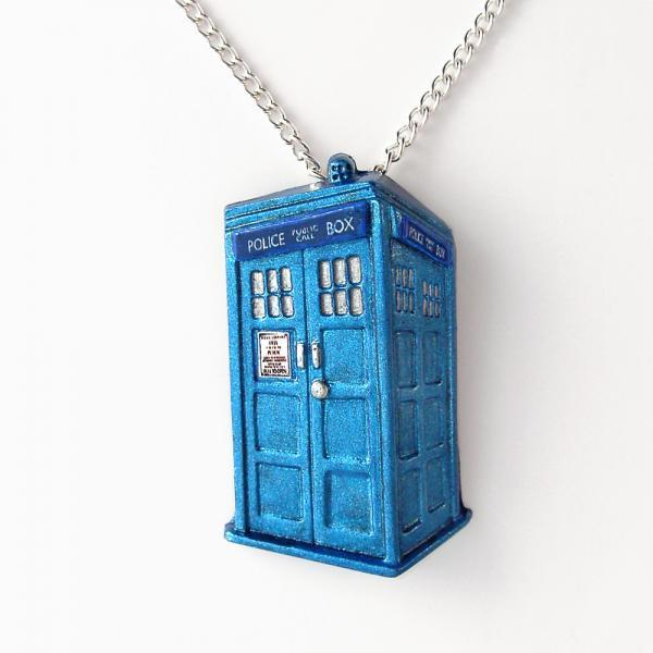 Doctor Who Metallic Blue Tardis Pendant with Silver Chain Necklace