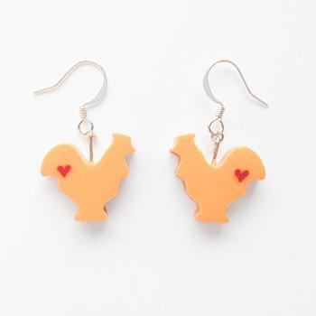Clay Sculpted Orange Rooster Earrings with Hearts