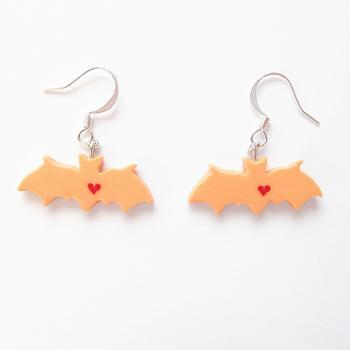 Clay Sculpted Orange Bat Earrings with Hearts