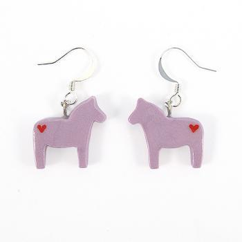 Clay Sculpted Purple Dala Horse Earrings with Hearts
