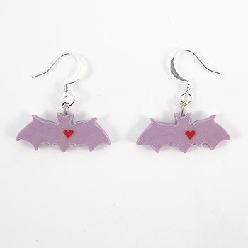 Clay Sculpted Purple Bat Earrings with Hearts